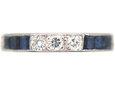 Art Deco Platinum, Diamond & Sapphire Eternity Ring