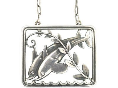 Silver Dolphins Pendant by Arno Malinowski for Georg Jensen