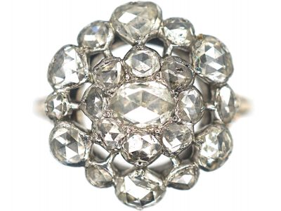 Large Georgian Rose Diamond Cluster Ring