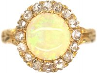 Victorian 18ct Gold , Opal & Rose Diamond Cluster Ring