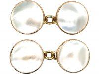 Art Nouveau 9ct Gold & Blister Pearl Cufflinks
