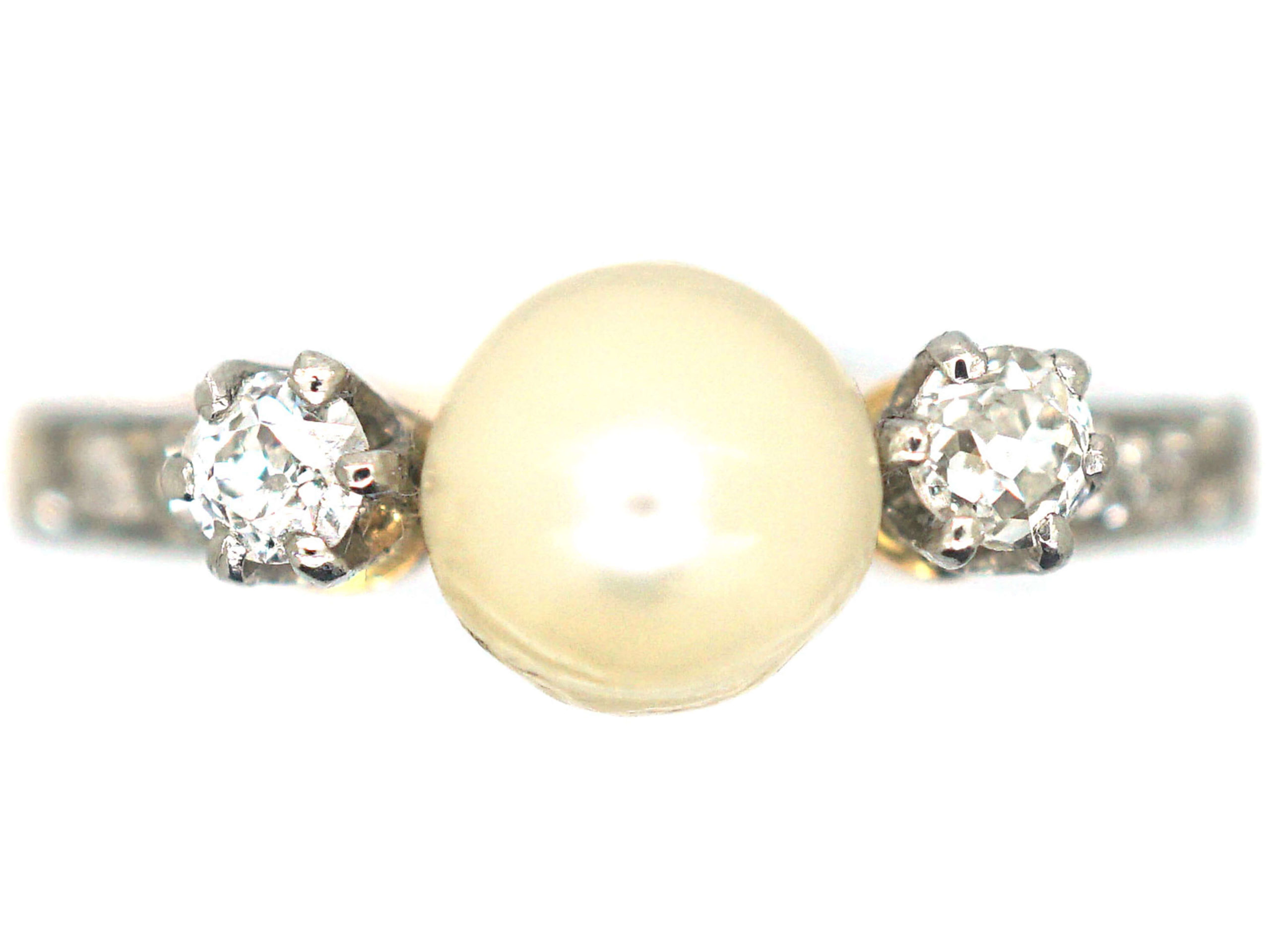 French Belle Epoque 18ct Gold, Natural Bouton Pearl & Diamond Ring