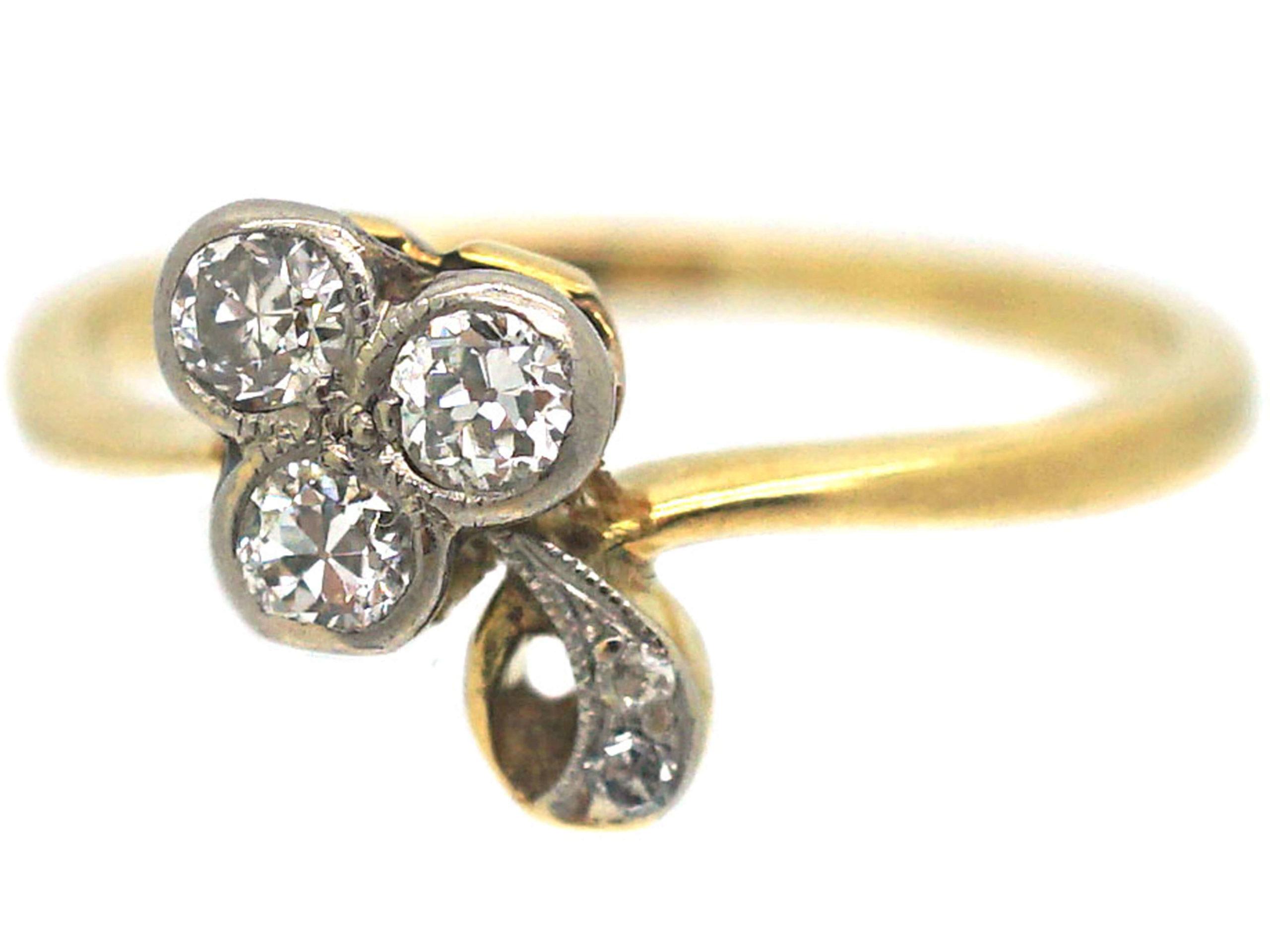 Edwardian 18ct Gold & Platinum Three Leaf Clover Ring set with Diamonds