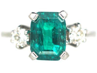 18ct White Gold, Emerald & Diamond Three Stone Ring