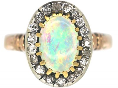 Edwardian 18ct Gold, Opal & Diamond Oval Cluster Ring