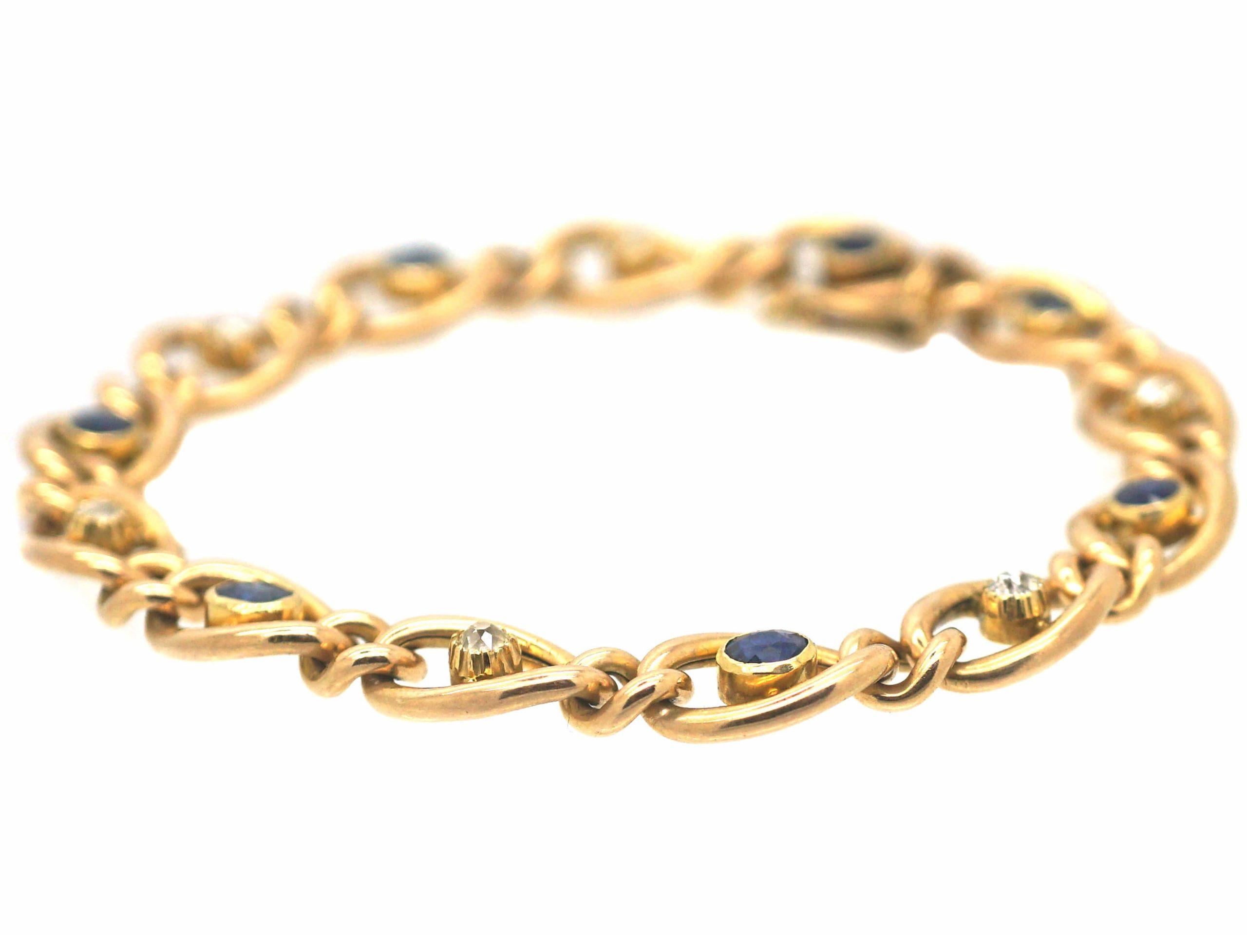 Edwardian 15ct Gold, Sapphire & Diamond Curb Link Bracelet