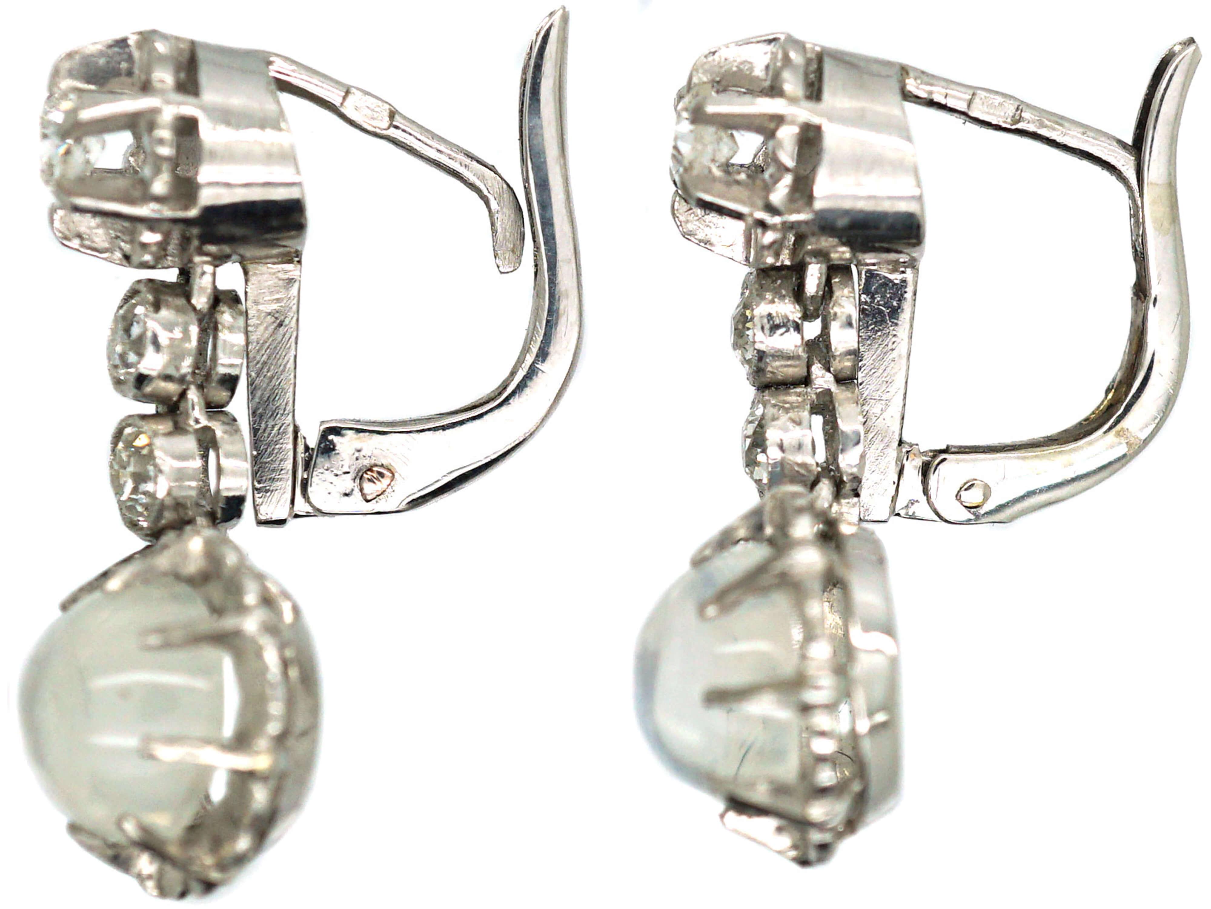 French Belle Epoque Diamond & Moonstone Drop Earrings