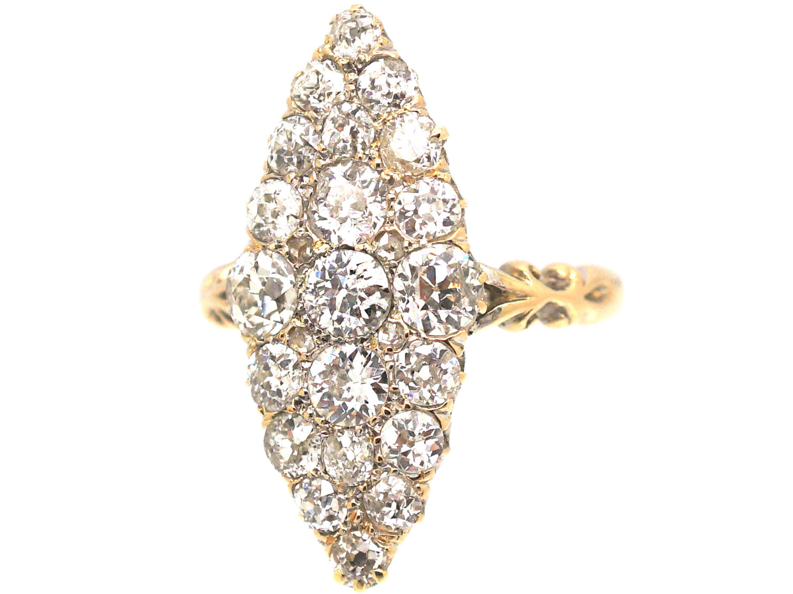 Victorian 18ct Gold, Marquise Shaped Diamond Ring