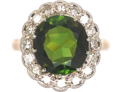 18ct Gold & Platinum, Green Tourmaline & Diamond Cluster Ring
