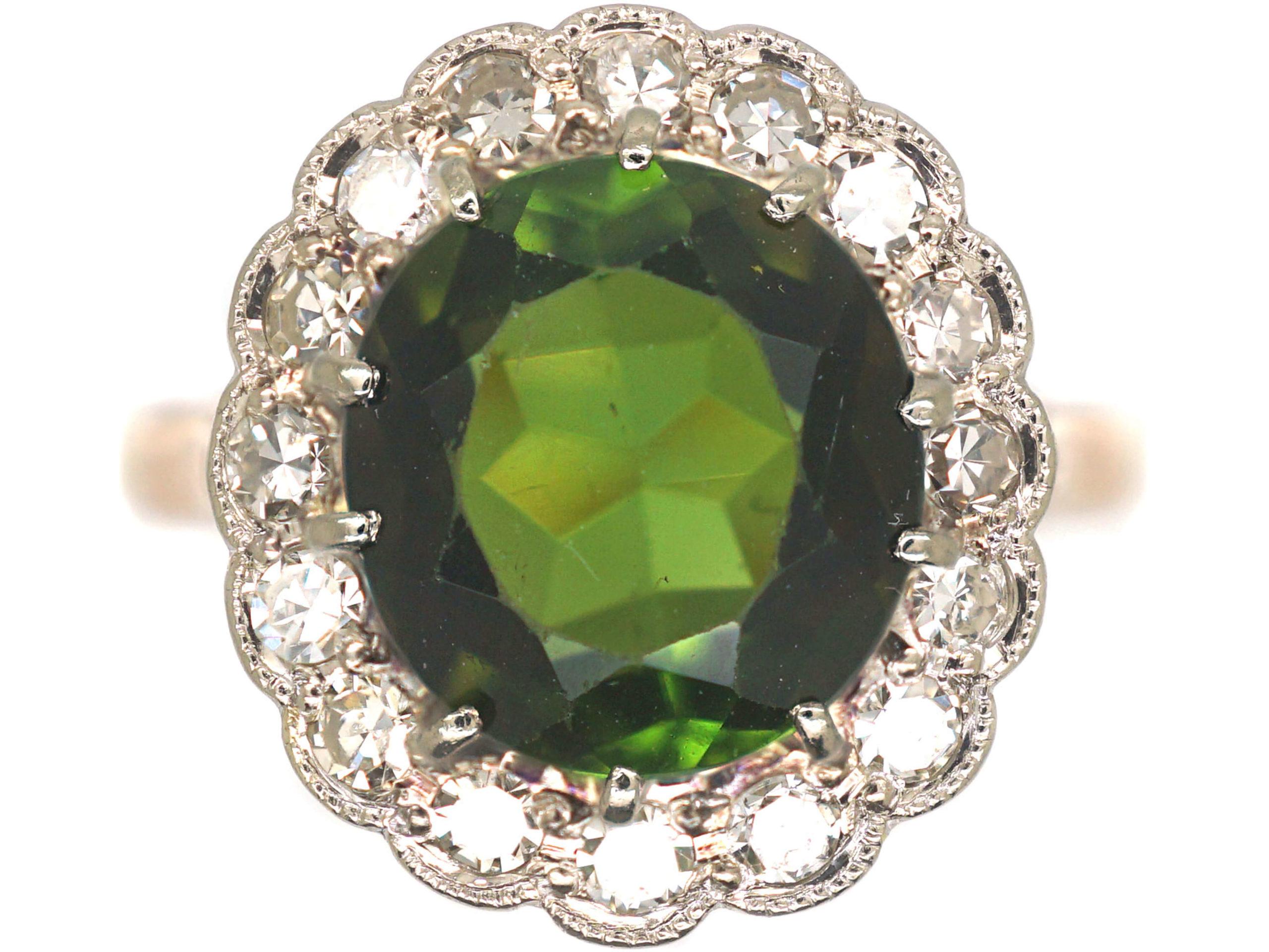 18ct Gold & Platinum, Green Tourmaline & Diamond Cluster Ring