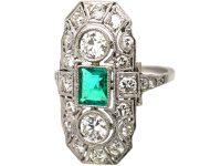 Art Deco Platinum, Emerald & Diamond Plaque Ring with Diamond Set Shoulders