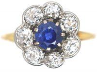 Edwardian 18ct Gold & Platinum, Sapphire & Diamond Cluster Ring