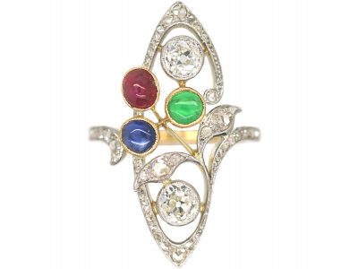Art Nouveau 18ct Gold & Platinum, Diamond, Emerald, Ruby & Sapphire Ring