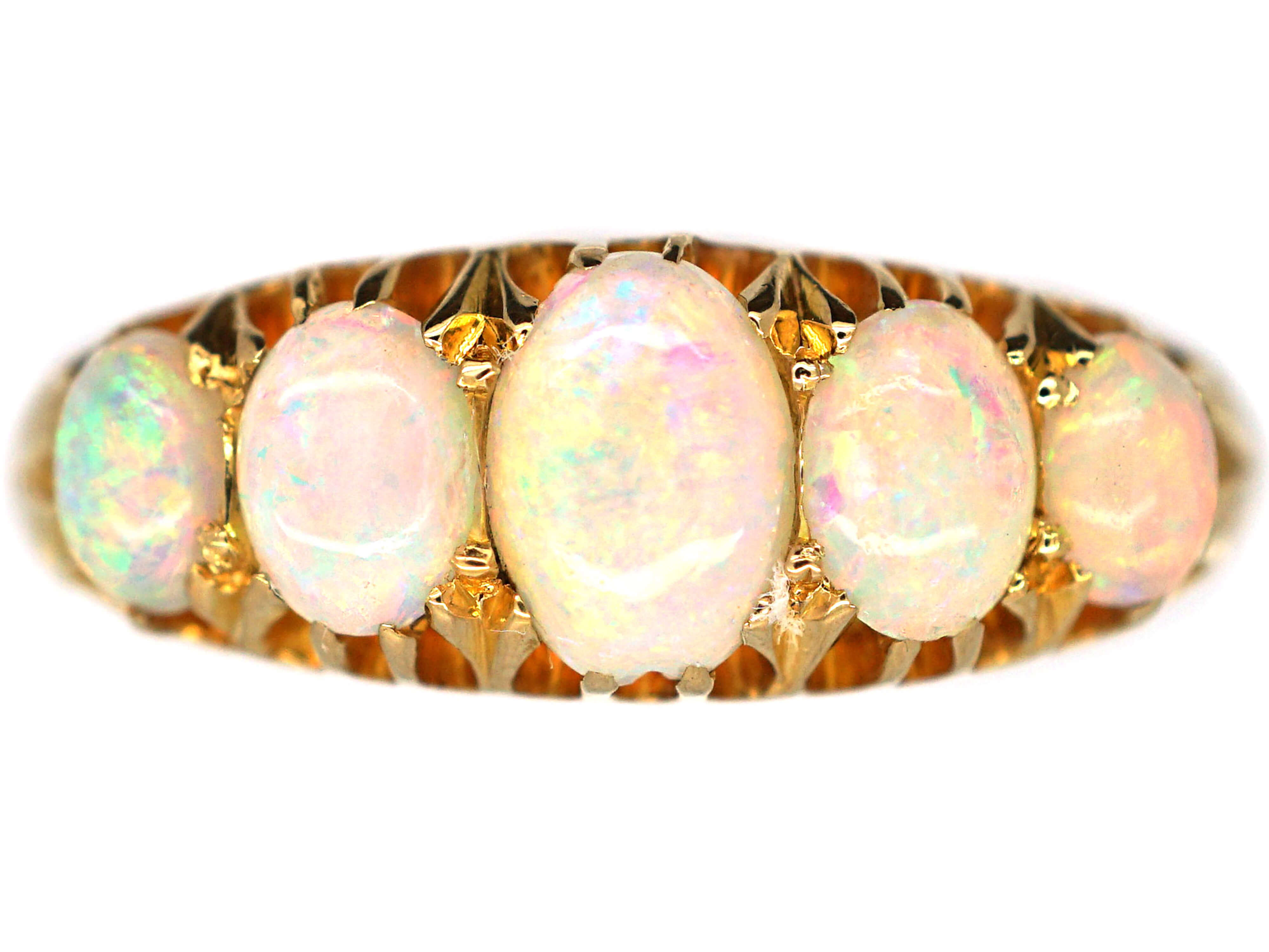 Edwardian 18ct Gold Five Stone Opal Ring