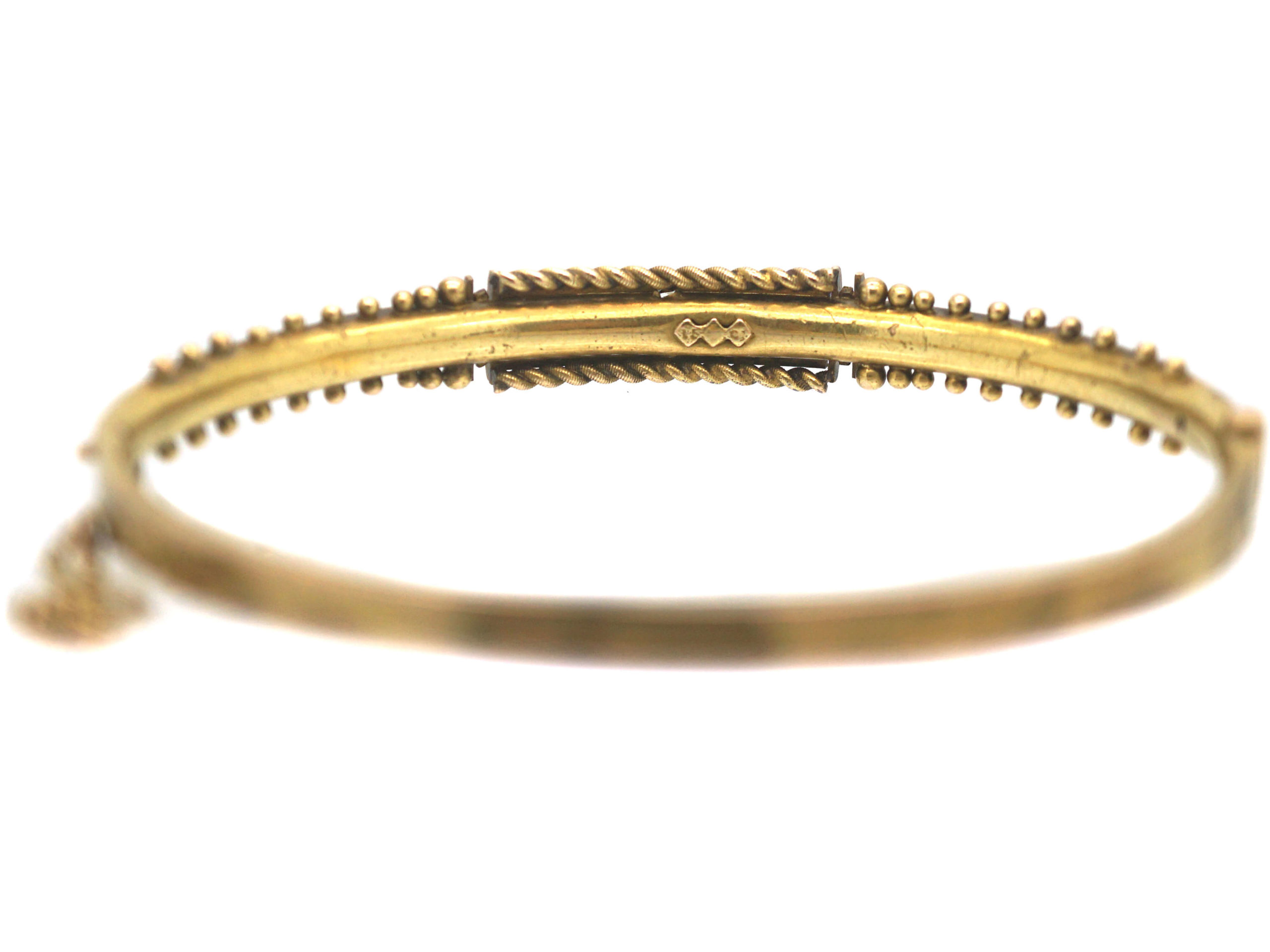 Victorian 15ct Gold Bangle set with Diamonds & Natural Split Pearls