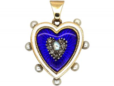 Edwardian 15ct Gold Blue & White Enamel, Natural Pearl & Rose Diamond Heart Pendant