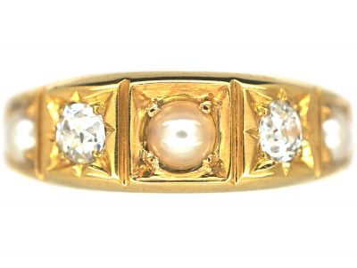 Victorian 18ct Gold Natural Split Pearl & Diamond Ring