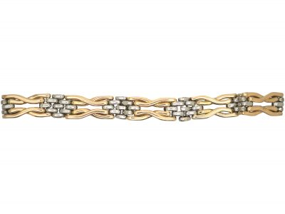 Edwardian 15ct Gold & Platinum Two Colour Gate Bracelet