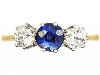 Early 20th Century 18ct Gold & Platinum, Sapphire & Diamond Three Stone Ring