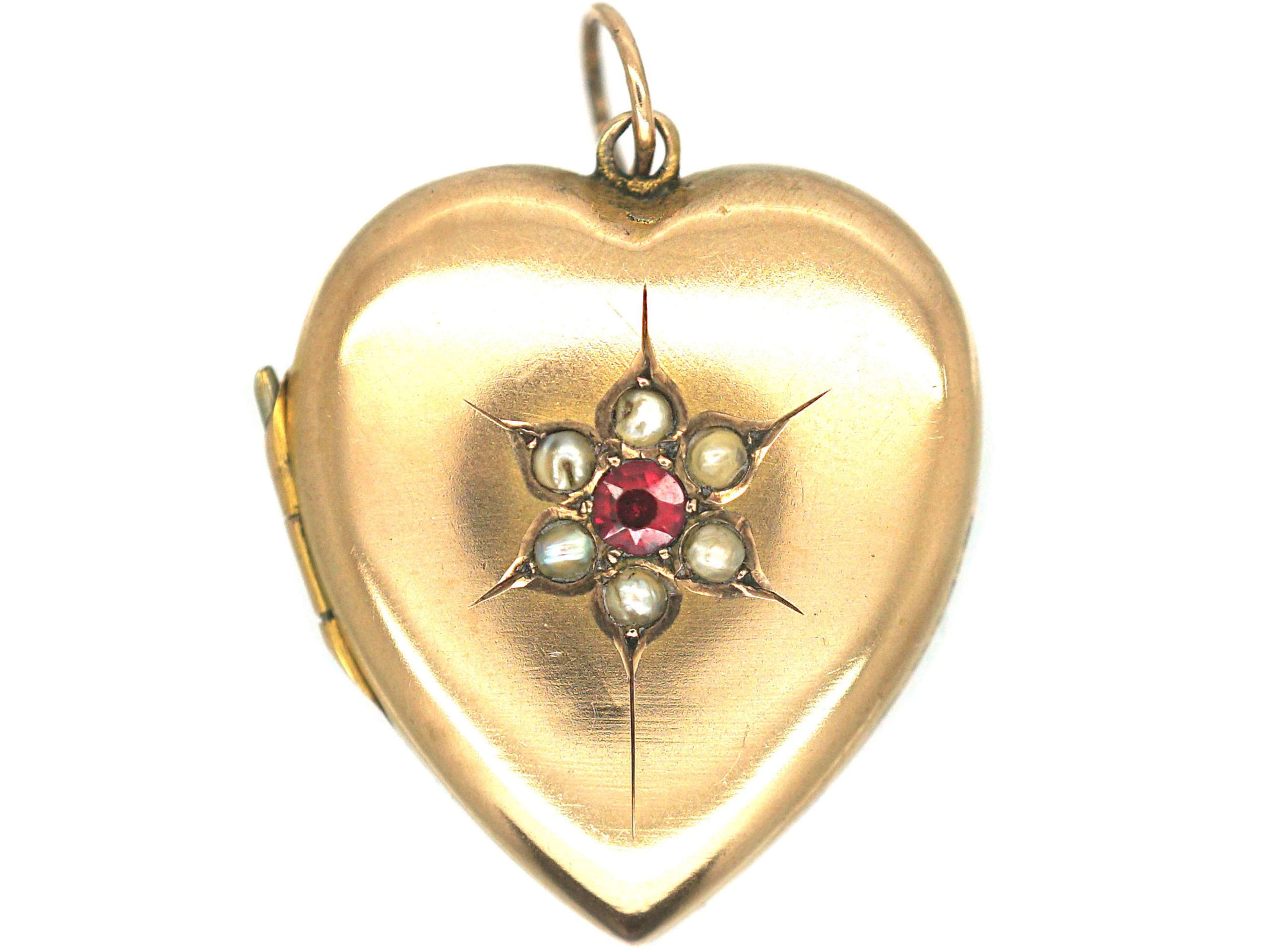 Edwardian 9ct Gold Heart Shaped Locket set with a Garnet & Natural Split Pearls