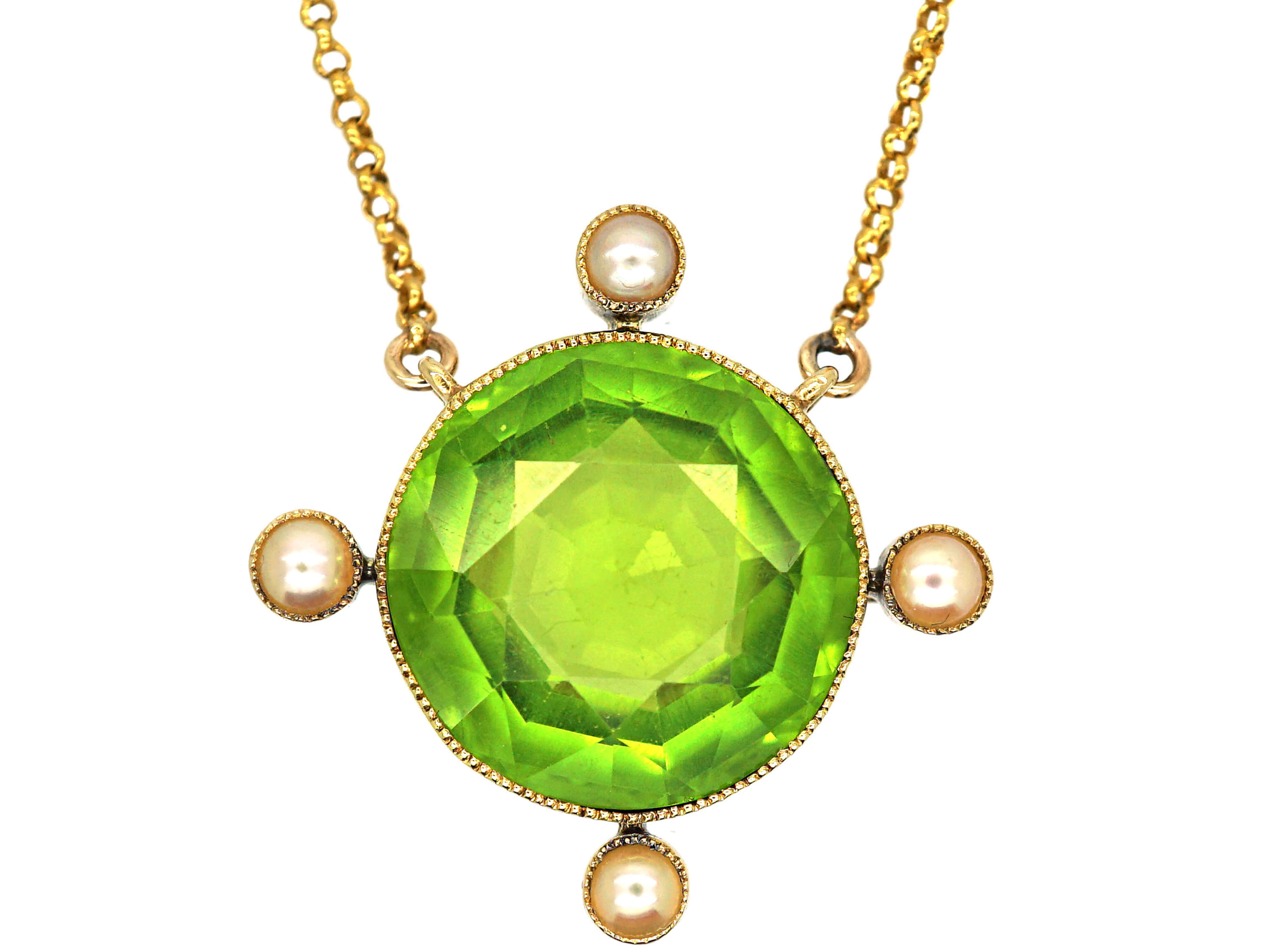 Edwardian 15ct Gold, Large Peridot & Natural Pearl Pendant on 15ct Gold Chain