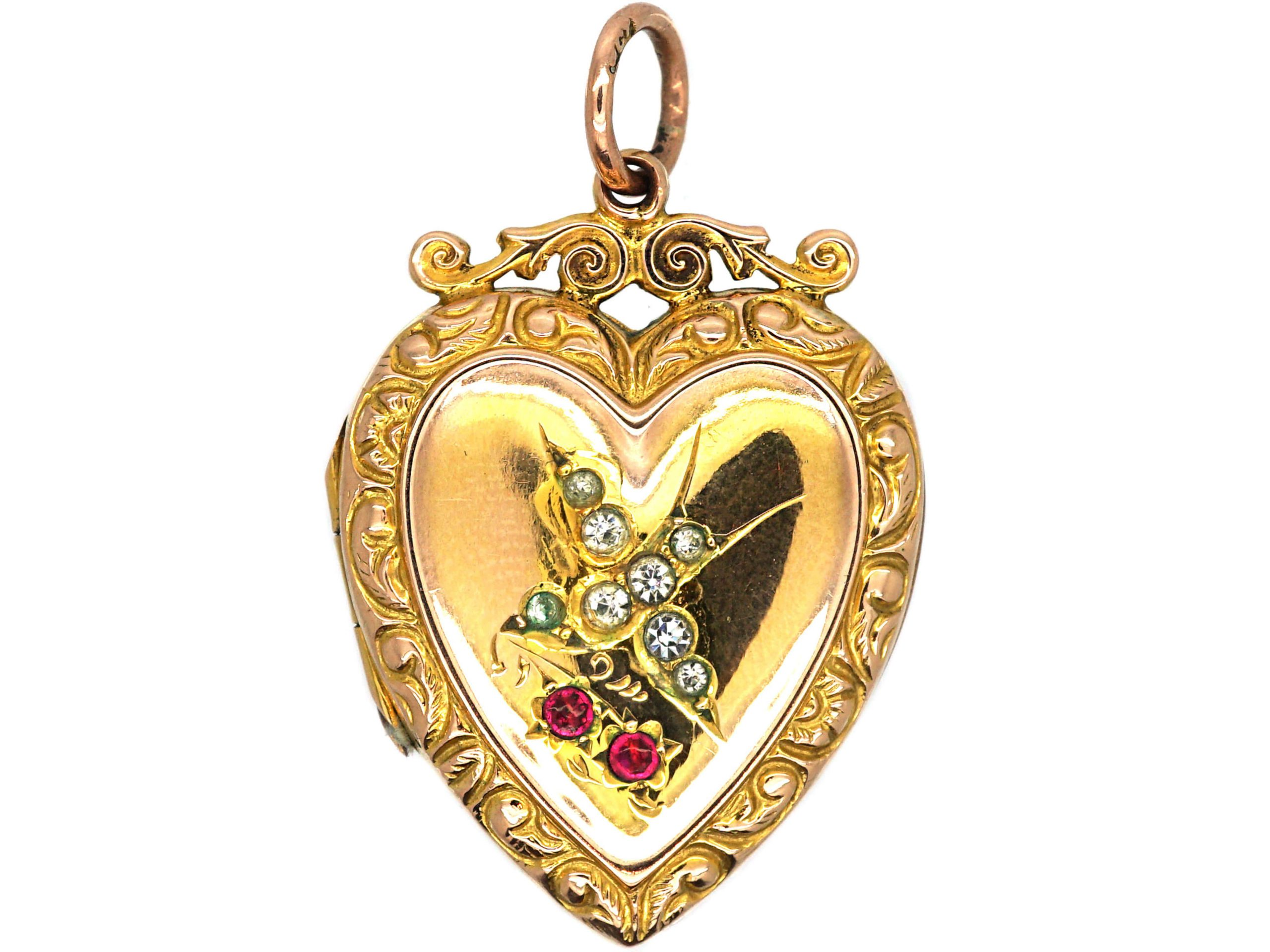 Edwardian 9ct Gold Back & Front Heart Shaped Locket with Paste Set Swallow Motif