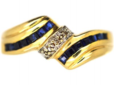 18ct Gold, Sapphire & Diamond Twist Ring