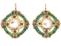 Victorian 18ct Gold, Moonstone, Ruby, Rose Diamond & Emerald Cluster Earrings