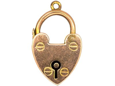 Edwardian 9ct Gold Heart Shaped Padlock