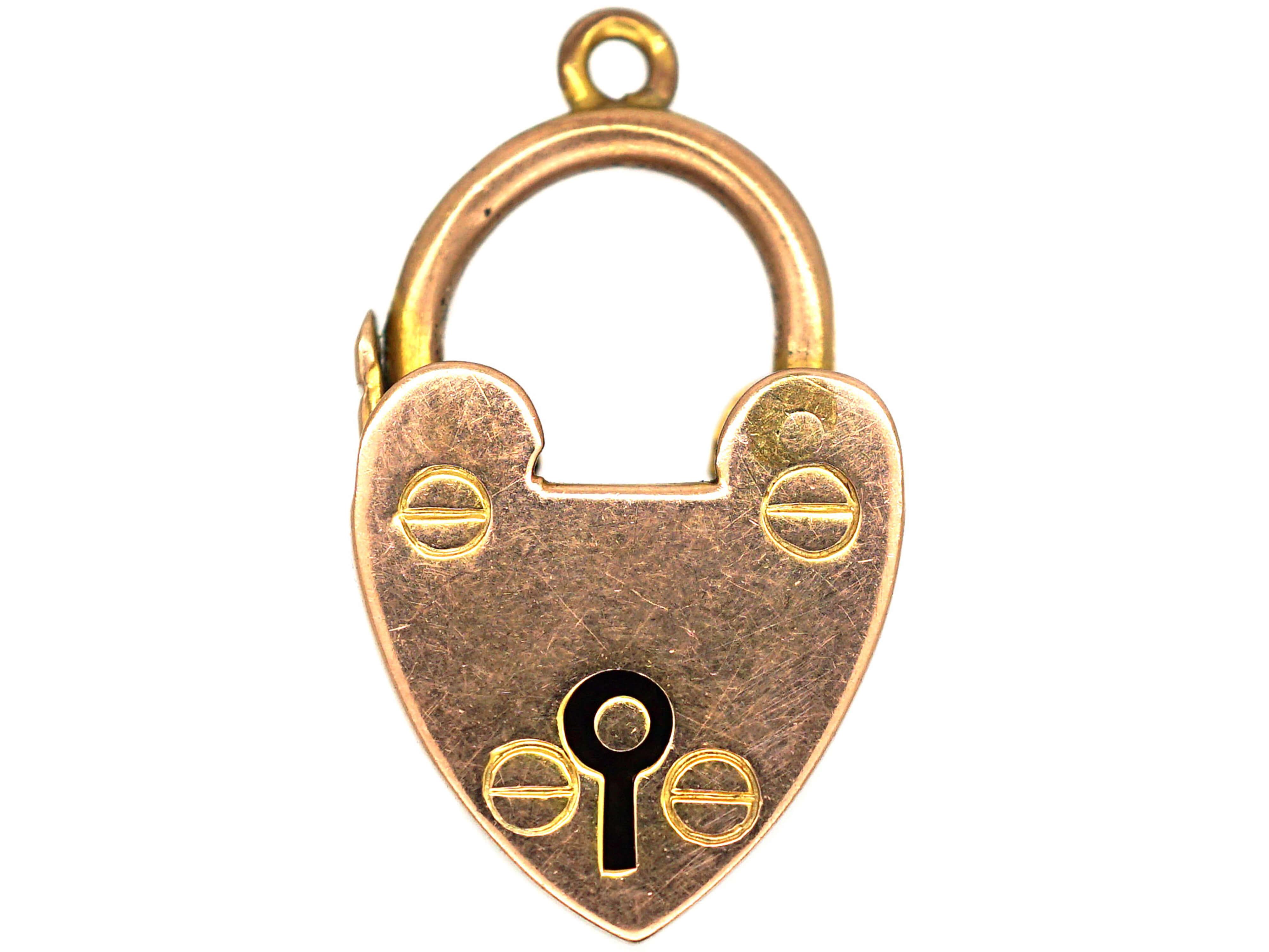 Edwardian 9ct Gold Heart Shaped Padlock