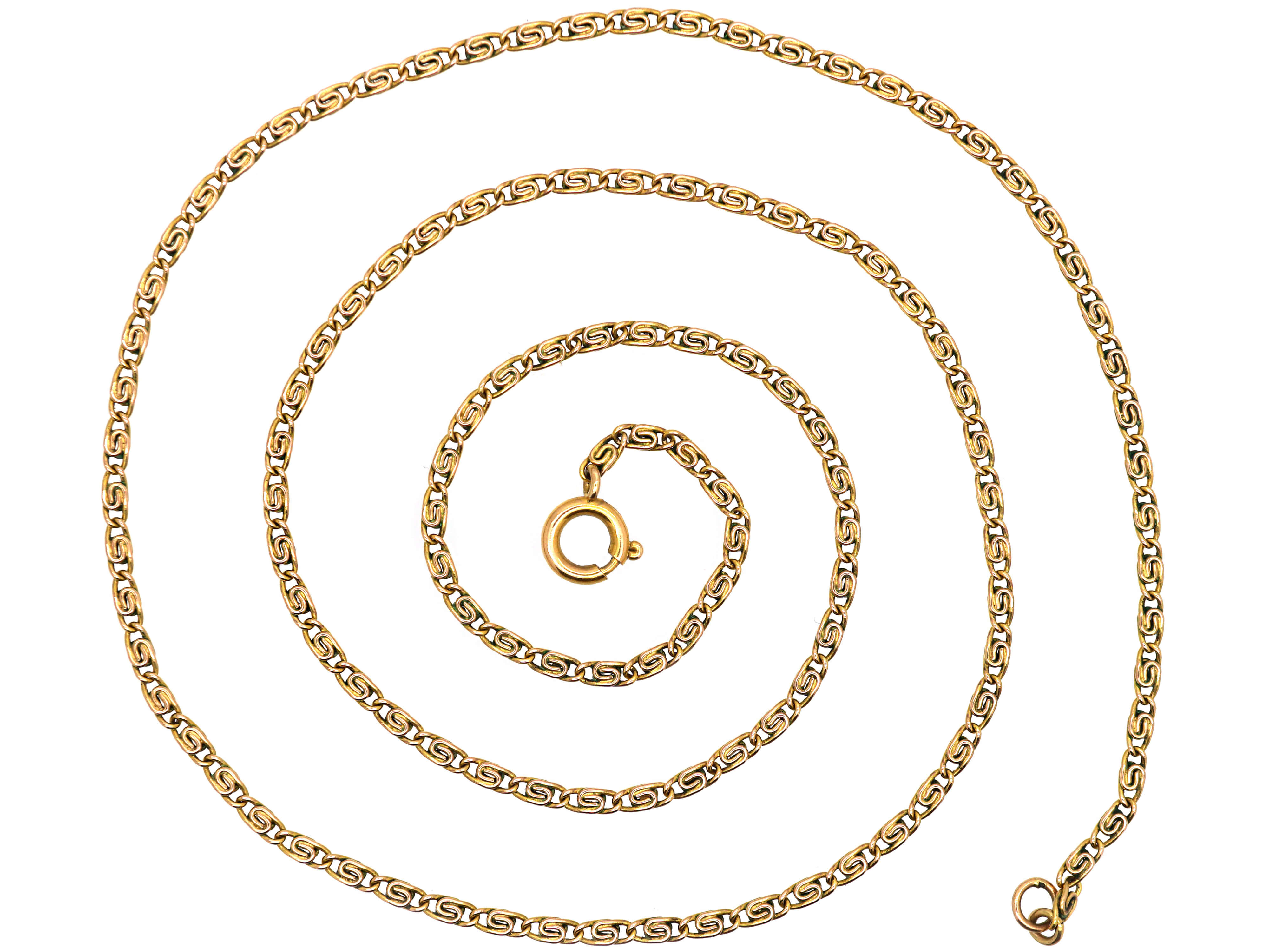 Edwardian 9ct Gold Flat Coiled Link Chain