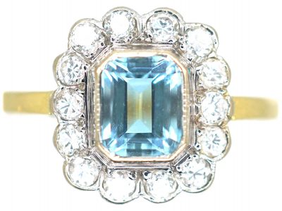 18ct Gold, Aquamarine & Diamond Cluster Ring