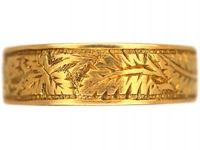 Victorian 18ct Gold Wedding Ring with Fern & Ivy Motifs