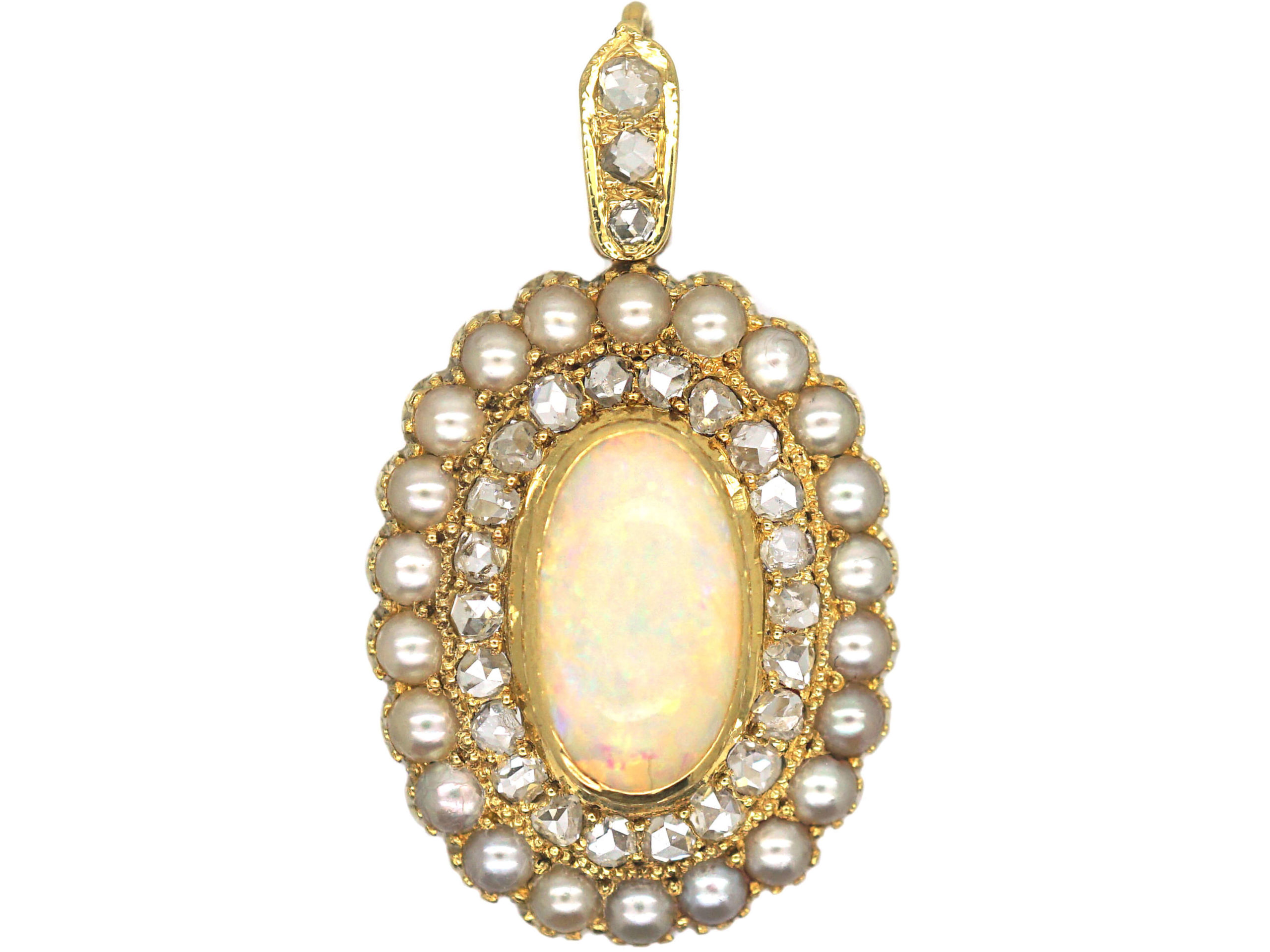 Edwardian 15ct Gold, Opal, Natural  Split Pearl & Rose Diamond Pendant