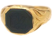 Victorian 18ct Gold Signet Ring set with a Bloodstone with Crest Intaglio