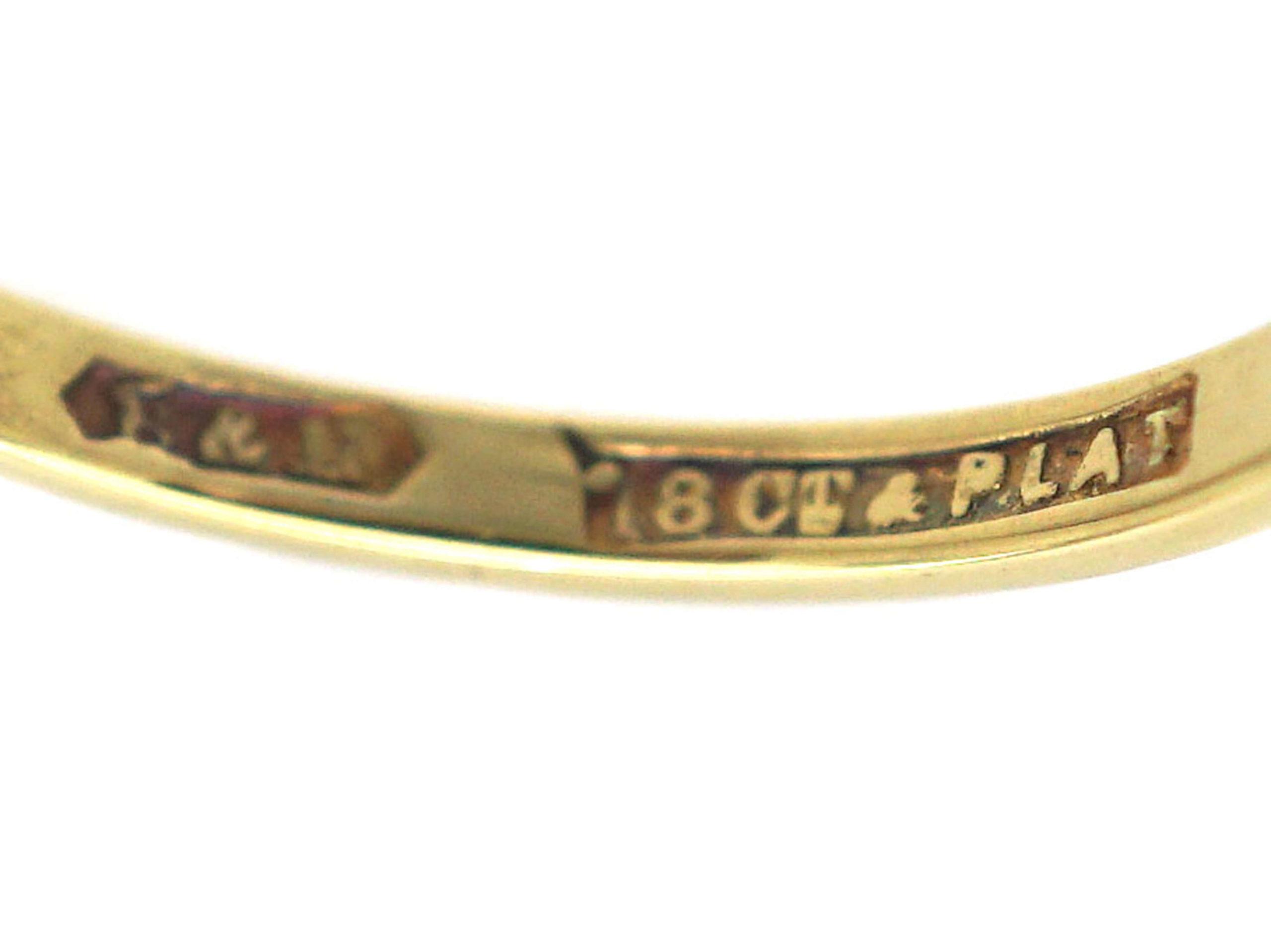 Art Deco 18ct Gold & Platinum, Diamond Solitaire Ring with Rose Diamond Set Shoulders