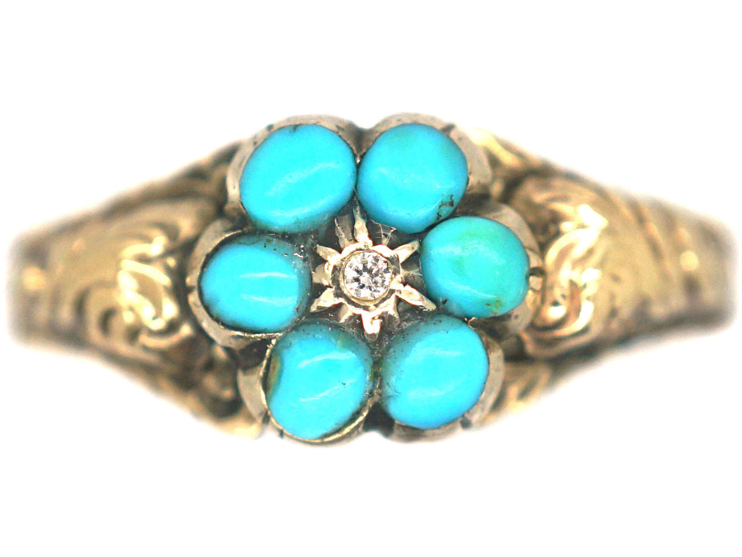 Regency 15ct Gold, Turquoise & Diamond Forget Me Not Cluster Ring