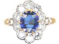 French 18ct Gold, Sapphire & Diamond Oval ClusterRing with Diamond Set Shoulders