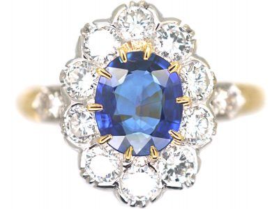 French 18ct Gold, Sapphire & Diamond Oval Cluster Ring with Diamond Set Shoulders