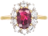 18ct Gold, Ruby & Diamond Oval Cluster Ring