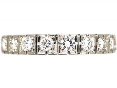 Art Deco French 18ct White Gold & Diamond Eternity Ring