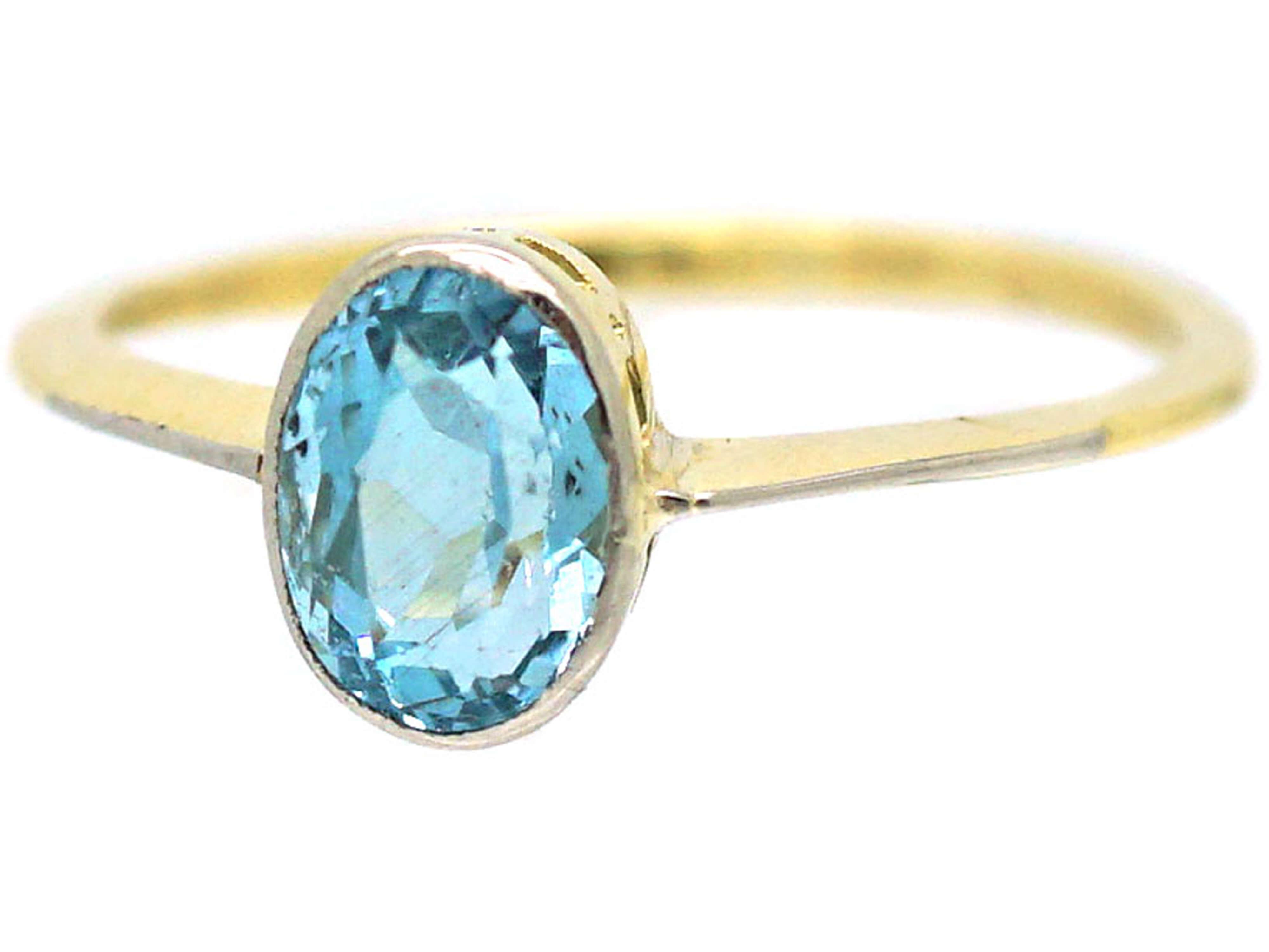 Art Deco 18ct Gold & Platinum, Aquamarine Ring