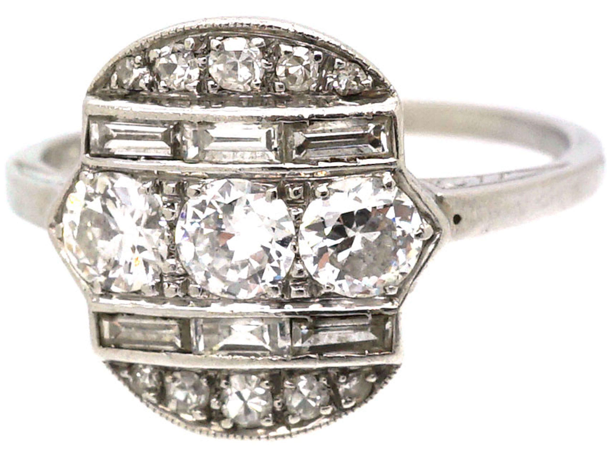 Art Deco Platinum, Diamond Geometric Ring