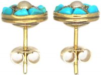 Victorian 18ct Gold, Turquoise, Natural Split Pearl & Rose Diamond Round Earrings