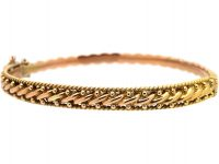 Victorian 9ct Gold Woven Design Bangle