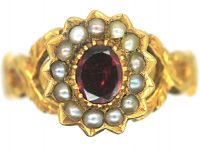 Regency 15ct Gold Flat Cut Garnet & Natural Split Pearl Cluster Ring with Glazed Locket on the Reverse