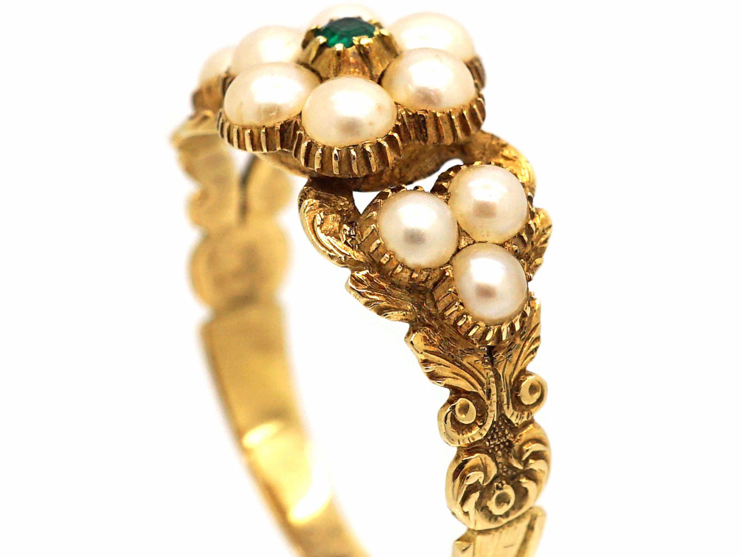 Regency 15ct Gold, Natural Split Pearl & Emerald Cluster Ring