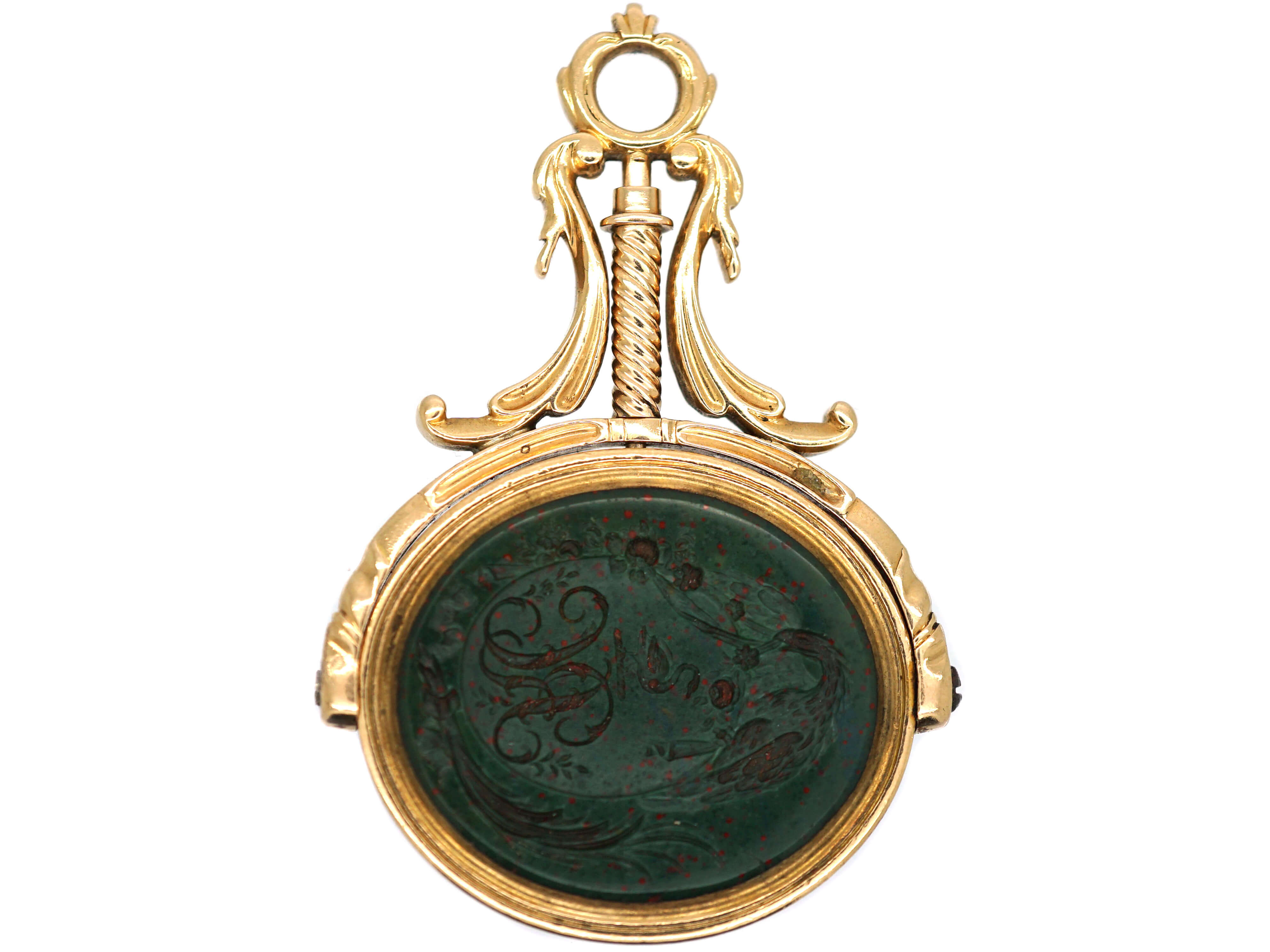 Georgian 15ct Gold Swivel Seal with Two Bloodstone Intaglios of Crests