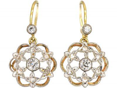 Edwardian 18ct Gold & Diamond Drop Stars Earrings