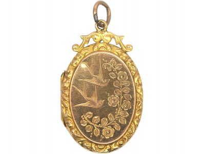 Edwardian 9ct Gold Oval Shaped Locket with Swallows & Flowers Motif